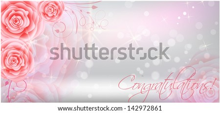 Greeting card background with abstract red roses