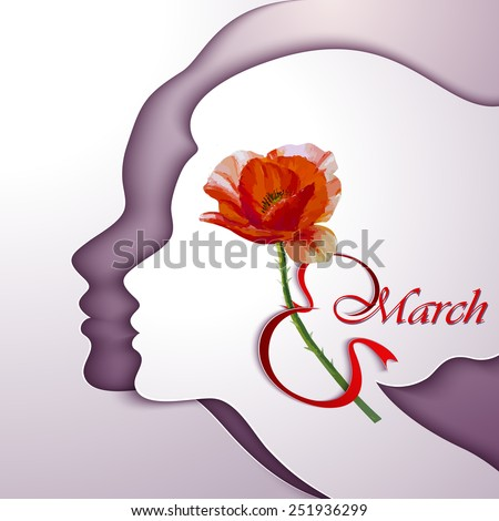 Greeting Card. Beautiful young woman with flowers in hair - stock vector