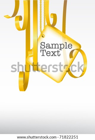 greeting card. card note with rolled up golden swirly ribbon on white background. Blank frame gift tag. eps10 vector - stock vector