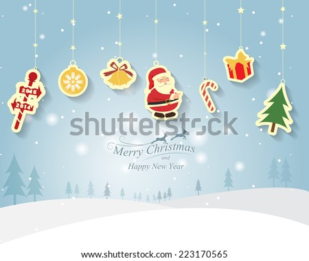Greeting card, Christmas and new year card with Santa Claus ,vector and illustration can be use for wallpaper, background, backdrop - stock vector