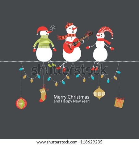 Greeting card, Christmas card with cute snowmen - stock vector