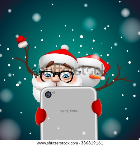 Greeting card, Christmas card with Santa Claus and snowman holding smart phone, vector illustration. - stock vector