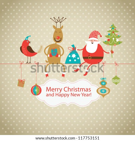 Greeting card, Christmas card with Santa Claus ,deer and little bird - stock vector