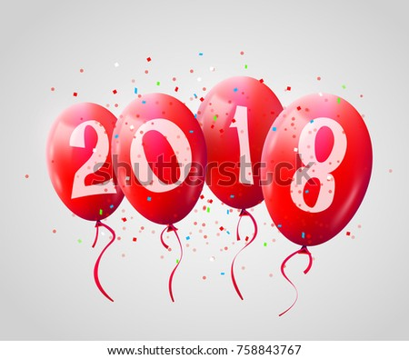 Greeting card 2018 christmas new year stock vector 2018 758843767 greeting card 2018 christmas or new year card with realistic red balloons and numbers on white m4hsunfo
