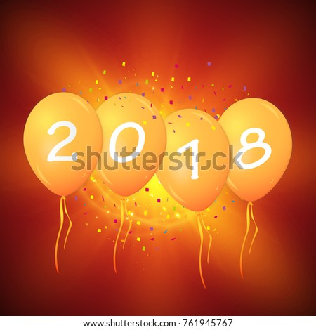 Greeting card 2018 christmas new year stock vector hd royalty free greeting card 2018 christmas or new year card with realistic red balloons and numbers on white m4hsunfo