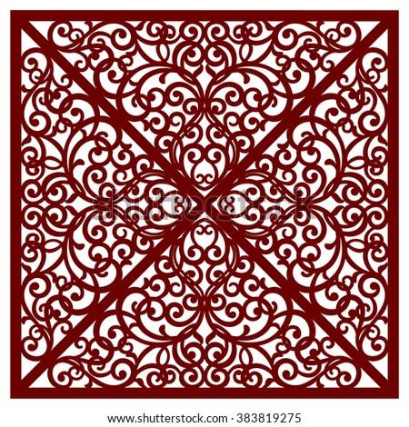greeting card, cut pattern - stock vector