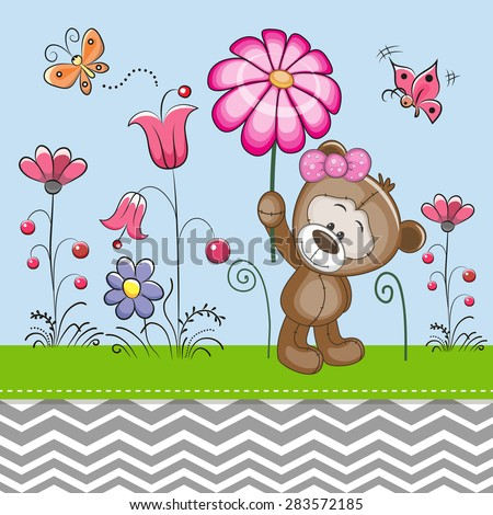 Greeting card Cute Bear with a flower on a meadow - stock vector