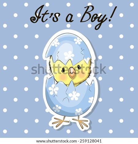 Greeting card cute chicken boy on a blue - stock vector