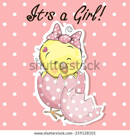 Greeting card cute chicken girl on a pink - stock vector