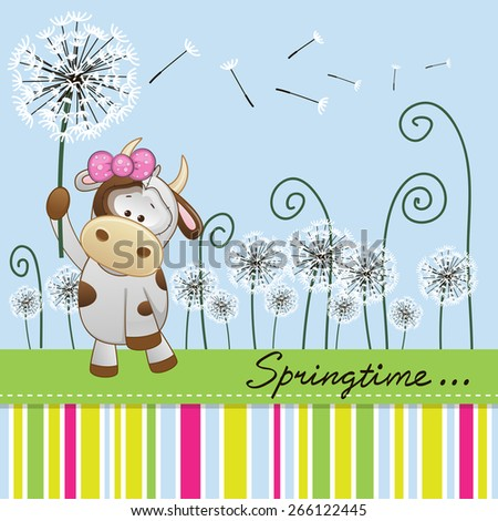 Greeting card Cute Cow with dandelion on a meadow  - stock vector