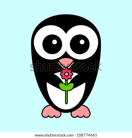 Greeting card cute penguin with flower - stock vector