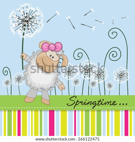 Greeting card Cute Sheep with dandelion on a meadow  - stock vector