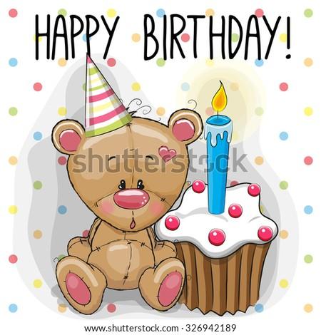 Greeting card cute Teddy Bear with cake  - stock vector