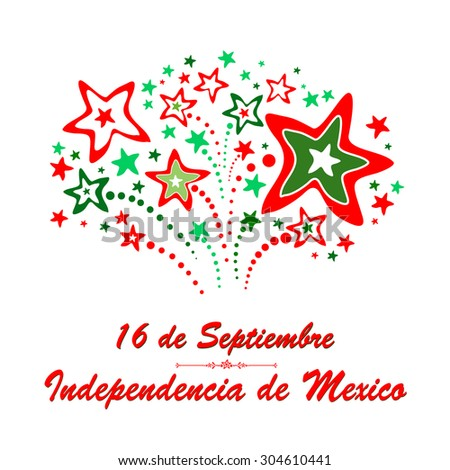 """Greeting card. """"16 de Septiembre, dia de independencia de Mexico"""" - September 16 Mexican independence day spanish text.  Vector Illustration - stock vector"""