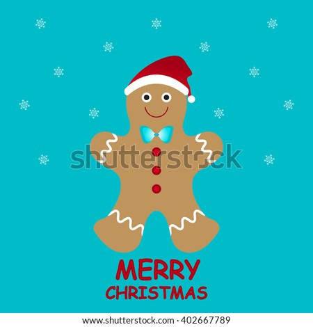 Greeting card decorated with brown gingerbread man on blue background. Modern vector art illustration for merry christmas, winter holiday, happy new year, invitation, banner, poster, wrapping, web. - stock vector