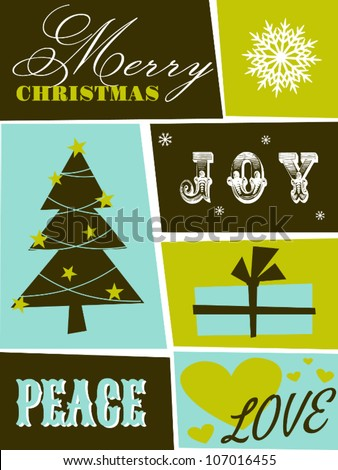 Greeting card design for Christmas. - stock vector