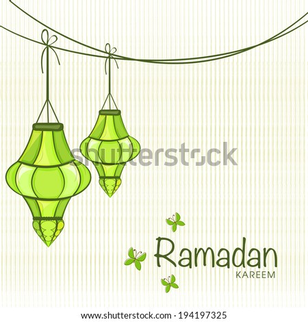 Greeting card design for holy month of muslim community festival Ramadan Kareem with hanging arabic lantern on brown background. - stock vector
