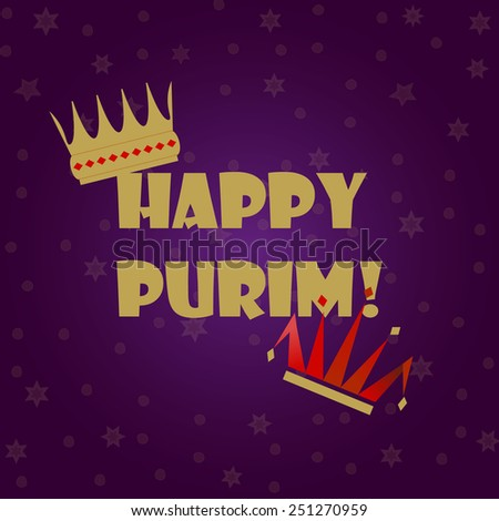 Greeting card design for Jewish holiday Purim vector flat design. Jewish Spring Carnival greeting card / poster. Purim party traditional attributes: king's crown & clown's hat. Layered, editable. - stock vector