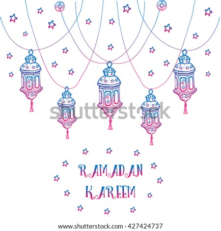 Greeting card design muslim holiday ramadan stock vector royalty greeting card design for muslim holiday ramadan kareem with stars and hand drawn lamps with blue m4hsunfo