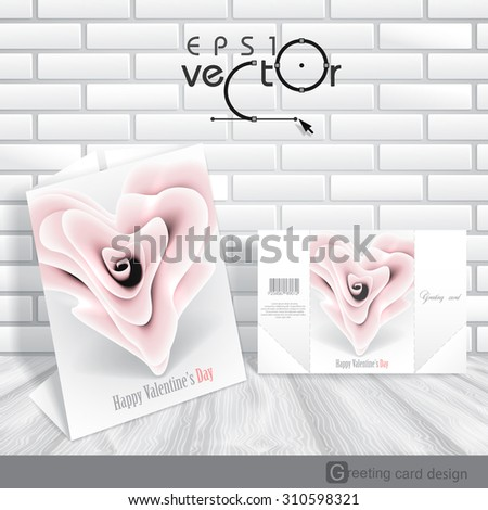 Greeting Card Design, Template. Happy Valentines Day.  Vector Illustration. Eps 10 - stock vector