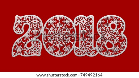 Greeting card design template snowflake pattern stock vector 2018 greeting card design template with snowflake pattern for 2018 new year number 2018 on red m4hsunfo