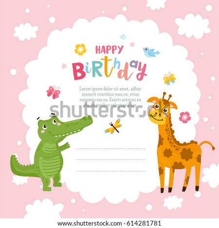Greeting card design cute alligator giraffe stock vector hd royalty greeting card design with cute alligator and giraffe happy birthday invitation template with funny letter filmwisefo