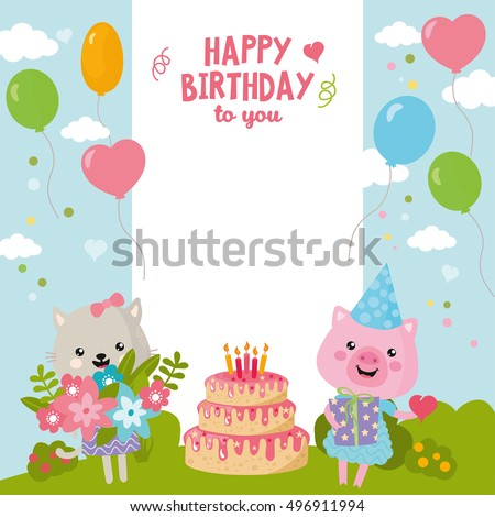 Greeting card design cute cat pig stock vector 496911994 shutterstock greeting card design with cute cat and pig happy birthday invitation template with balloon and filmwisefo
