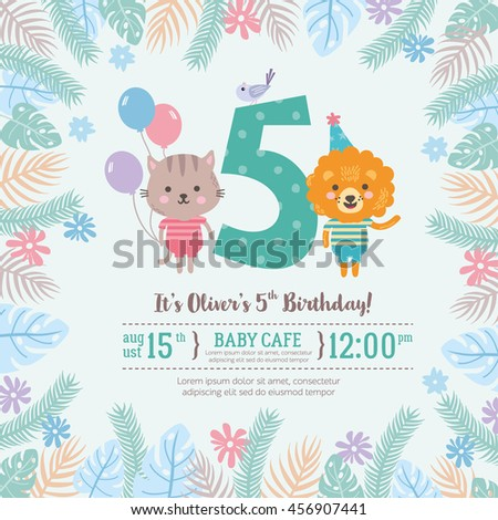 Greeting card design cute lion cat stock vector royalty free greeting card design with cute lion and cat happy birthday invitation template for five year stopboris Image collections
