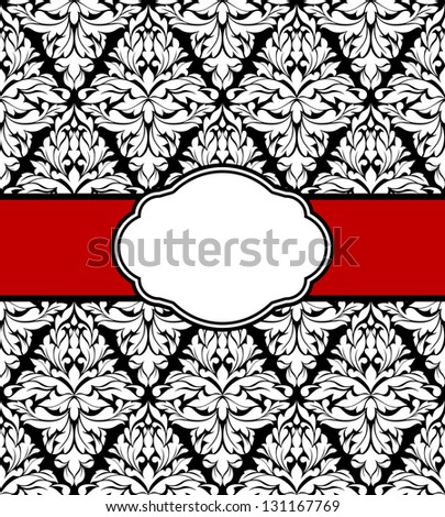 Greeting card design with floral seamless pattern and ribbon. Jpeg (bitmap) version also available in gallery - stock vector