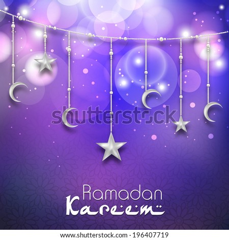 Greeting card design with hanging moon and stars in shiny purple background for holy month of muslim community Ramadan Kareem. - stock vector