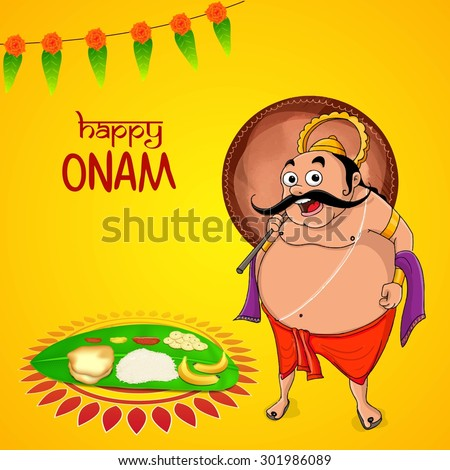 Greeting card design with illustration of King Mahabali and traditional food on banana leaf for South Indian festival, Happy Onam celebration, - stock vector