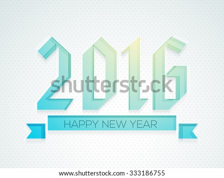 Greeting card design with stylish text 2016 on glossy background for Happy New Year celebration. - stock vector