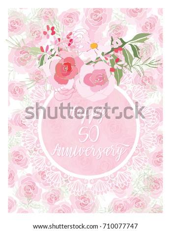 Greeting card anniversary birthday flower composition stock vector greeting card for anniversary birthday flower composition to a celebratory event vector illustration m4hsunfo