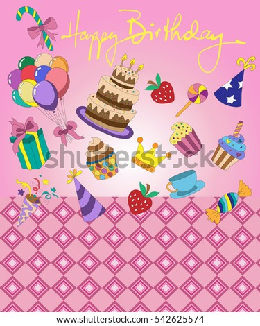 Greeting Card Birthday Cake Sweets Cupcakes Stock Vector 542625574