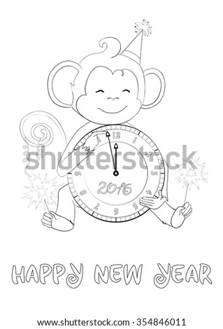 Greeting card for coloring. Happy new year. One of a set: Cards for holidays all year round with cute monkey (symbol of 2016 year). A4 proportions. Colored version is available in portfolio. - stock vector