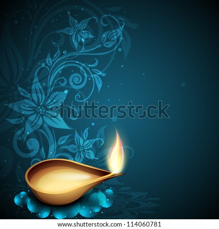 Greeting card for Diwali celebration in India. EPS 10. - stock vector