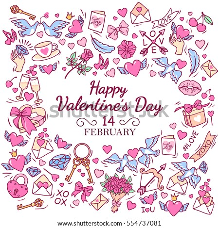 Greeting card for Happy Valentine's day. Frame consisting of the symbols and decorative elements. White background. Vector Illustration