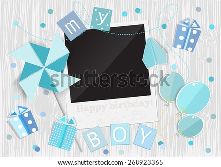 Greeting card for little boy. Pinwheel, car, gift box, photo frame, balloons on wooden background. Vector EPS10. - stock vector