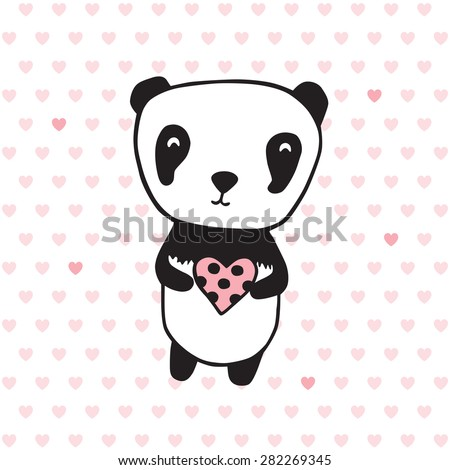 Greeting card for Mother's Day, Valentine's Day, birthday with panda and heart. Hand drawn panda for your design. Doodles, sketch. Vector illustration. - stock vector