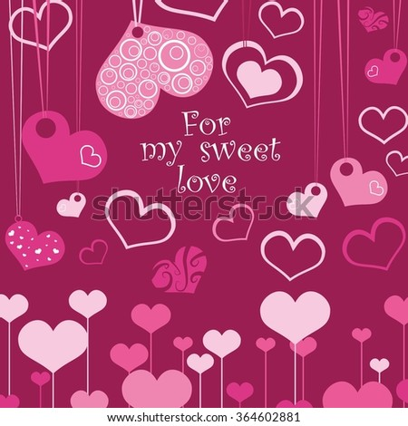 Greeting card for St. Valentine's Day. Valentines Day Background.