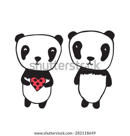 Greeting card for Valentine's Day, birthday with pandas and heart. Hand drawn pandas for your design. Light pink background with hearts. Doodles, sketch. Vector illustration - stock vector