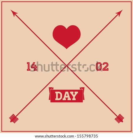 Greeting card for Valentine's Day, in a simple style.  - stock vector