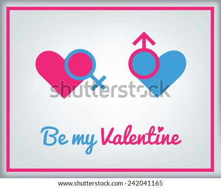 Greeting card for Valentine's day with vector icon - hearts with male and female - stock vector