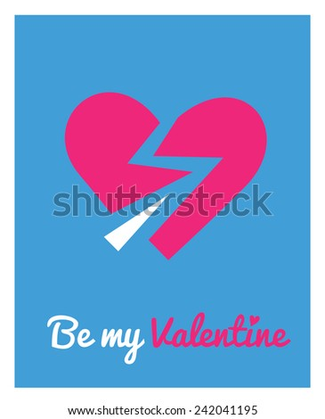 Greeting card for Valentine's day with vector icon - with broken hearts - stock vector