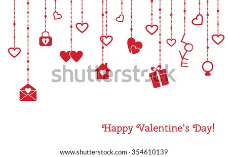 Greeting card for Valentines Day with hanging hearts, gift, love letter
