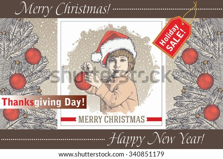 Greeting card, frame. Happy New Year and Merry Christmas. Winter. Christmas background realistic. Boy dresses Christmas tree. Family Child Set Sale. Freehand drawing. Santa. Vector stock Illustration.