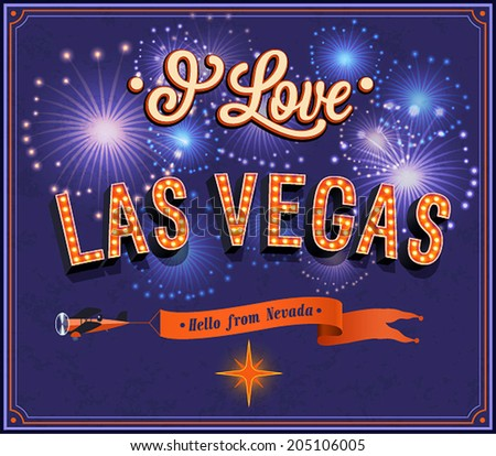 Greeting card from Las Vegas - Nevada. Vector illustration. - stock vector