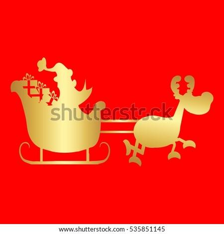 Cartoon Illustration Santa Claus His Sleigh Stock Vector