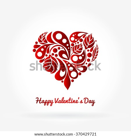 Greeting card. Hand drawing. Greeting card. Valentine's Day. Decorative heart in flowers, leaves. Bright card. Happy Valentine's Day cards with ornaments. Valentines heart. Vector illustration.  - stock vector