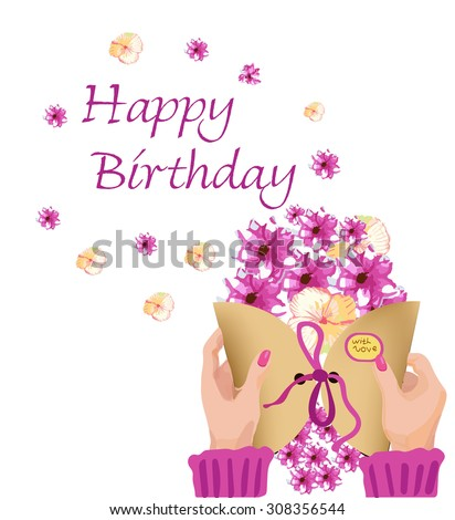 Greeting Card Happy Birthday Womens Hands Stock Vector Royalty Free